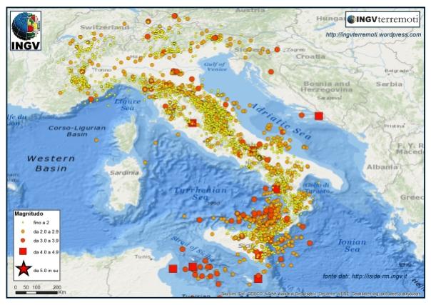 I terremoti registrati dalla Rete Sismica Nazionale dal 1 gennaio al 23 agosto 2016.