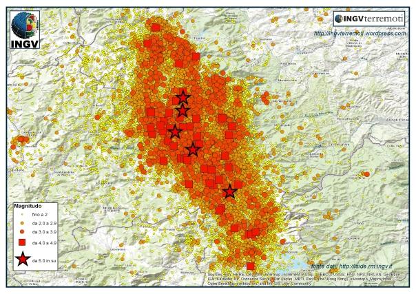 La sequenza sismica in Italia Centrale durante il 2016.