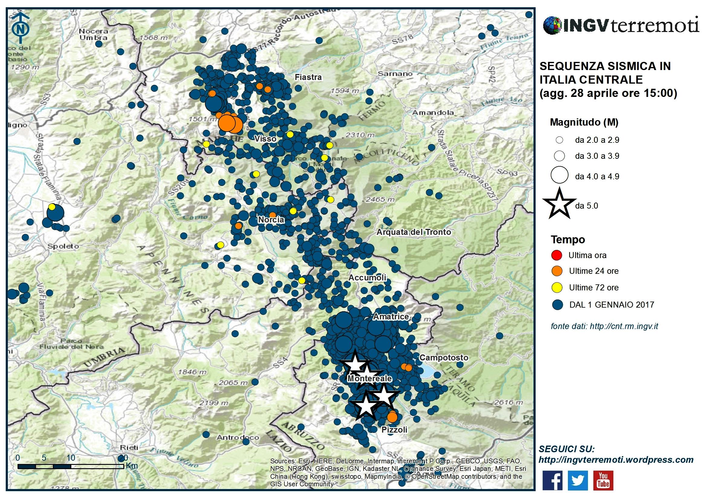 Terremoto aggiornamento della sequenza sismica l 39 ingv for Eventi milano aprile 2017