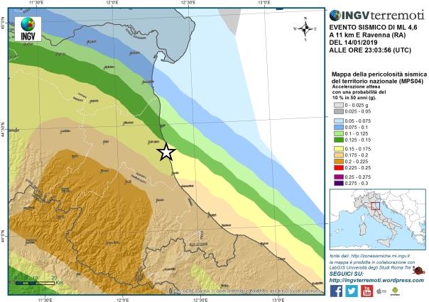 Mappa della pericolosità sismica del territorio nazionale. L'epicentro del terremoto di magnitudo 4.6 è rappresentato con una stella.