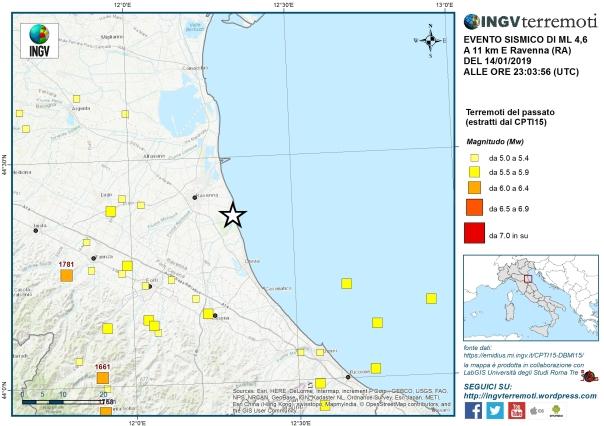 Mappa della sismicità storica della zona